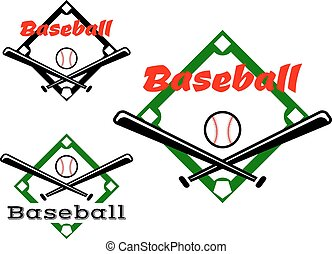 Baseball labels or badges in two different designs showing...