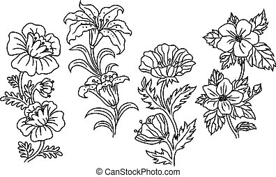 Black and white outline summer flowers - Black and white...