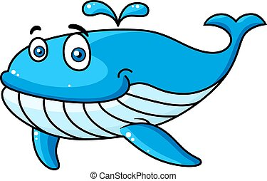 Cartoon whale with a water spout - Happy smiling blue...
