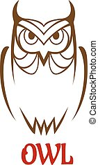 Wise old owl sketch - Wise old owl vector sketch with a...