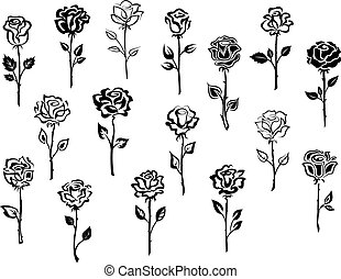 Set of rose icons - Black and white collection of rose icons...