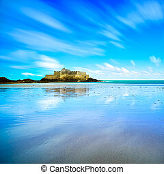 Saint Malo Fort National and beach, low tide. Brittany,...