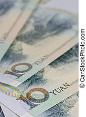 chinese Yuan banknotes (renminbi)  for money and business  conce