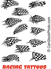 Checkered flags tattoos - Checkered flags set stylized as...
