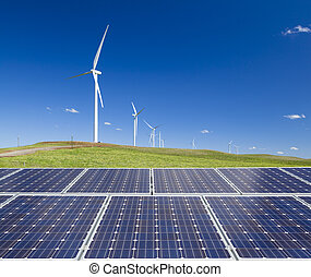 Sustainable clean energy with solar panels and wind turbines