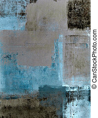 Teal and Brown Abstract Art - This image was create by T30...