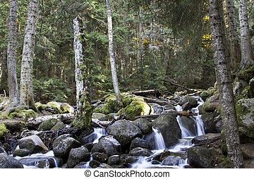 Waterfall on the river Murudzhu in the Caucasus mountains in...