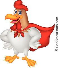 Cartoon super rooster posing - Vector illustration of...