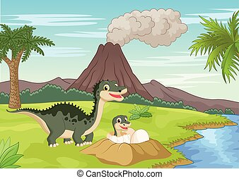 Cartoon Mother dinosaur with baby h - Vector illustration of...