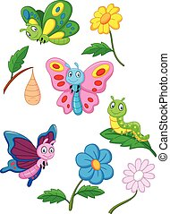 Cartoon butterfly, caterpillar and - Vector illustration of...