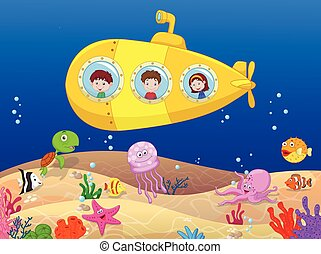 Happy kids cartoon in submarine - Vector illustration of...