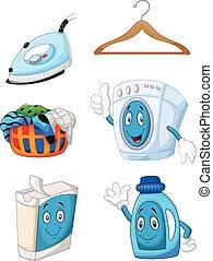 Happy cartoon laundry - Vector illustration of Happy cartoon...