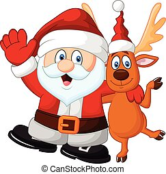 Cartoon Happy Santa and deer - Vector illustration of...
