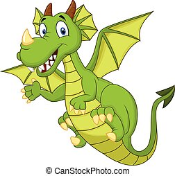 Cute cartoon dragon - Vector illustration of Cute cartoon...