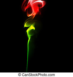 Smoke rose from - Abstract bright colored smoke on a dark...