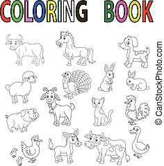 Farm animal cartoon coloring book - Vector illustration of...