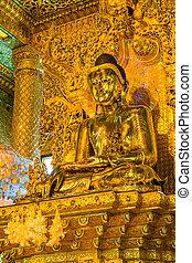 Old Buddha in Bo Ta Tuang Paya Temple Yangon, Myanmar Burma...