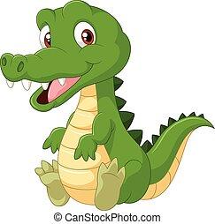 Cute cartoon crocodile - Vector illustration of Cute cartoon...
