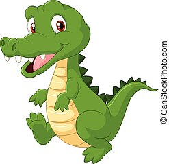 Happy cartoon crocodile