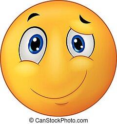 Happy emoticon smile cartoon - Vector illustration of Happy...
