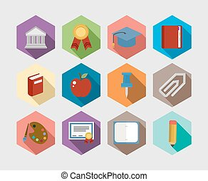 Back to School flat icons design set
