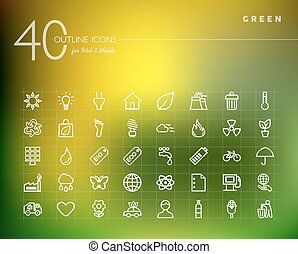 Green environment outline icons set