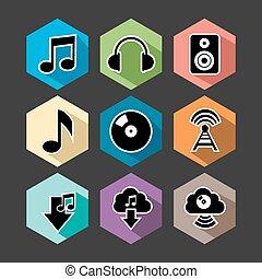 Music flat icons set illustration