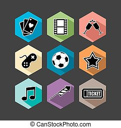 Entertainment icons set flat illustration