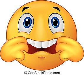 Emoticon smiley cartoon making a te - Vector illustration of...
