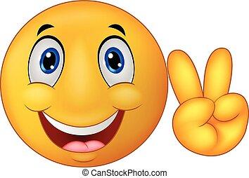 Smiley emoticon cartoon with v sign