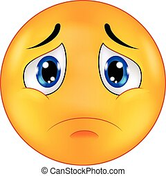 Sad smiley emoticon cartoon - Vector illustration of Sad...