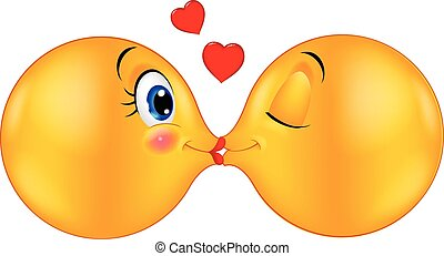 Kissing emoticon cartoon