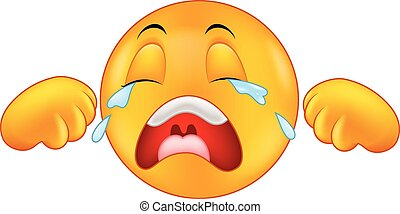 Crying emoticon cartoon - Vector illustration of Crying...