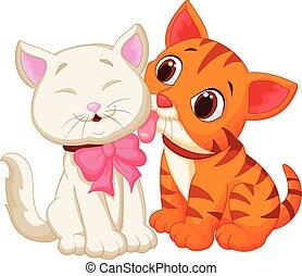 Cartoon cat licking - Vector illustration of Cartoon cat...