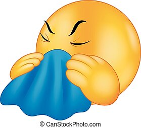 Cartoon Emoticon smiley coughing - Vector illustration of...