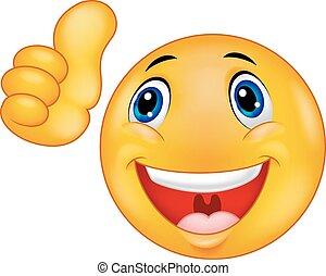 Happy Smiley Emoticon cartoon Face - Vector illustration of...