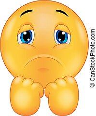 Sad smiley emoticon cartoon - Vector illustration of Sad...