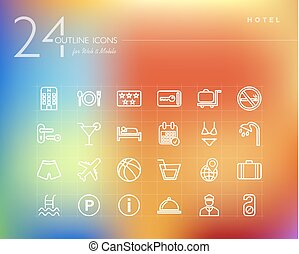 Hotel outline icons set for web and mobile app. EPS10 vector...
