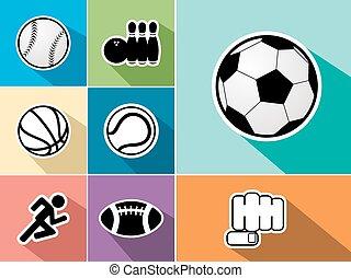 Sports icons set flat illustration