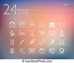 Pet outline icons set - Pet and Vet outline icons set for...