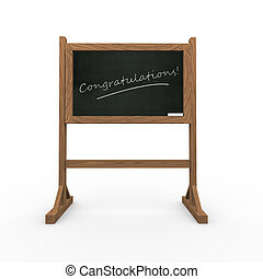 3d black chalkboard word congratulations - 3d rendering of...