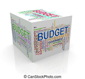 3d cube word tags wordcloud of budget - 3d rendering of cube...
