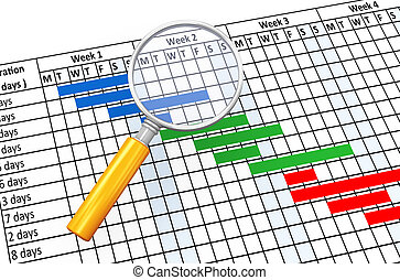 3d magnifier and gantt chart - 3d render of magnifying glass...