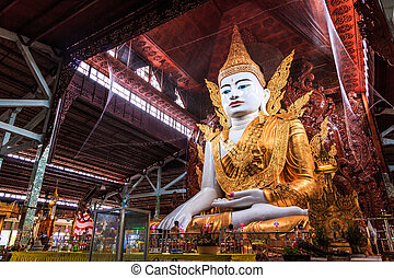Buddha in Ngahtatkyi Pagoda in Yangon, Myanmar Burma They...
