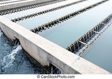moderno, urbano, wastewater, tratamiento, planta,
