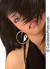 Beautiful teenager young girl in black elegant dress...