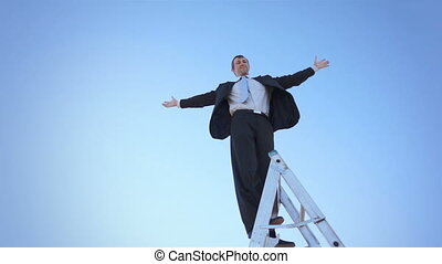 Businessman Ladder Arms Spread Wide - Businessman in a suit...