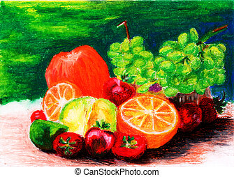 fresh fruit painting by crayon