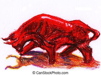 bull crayon painting