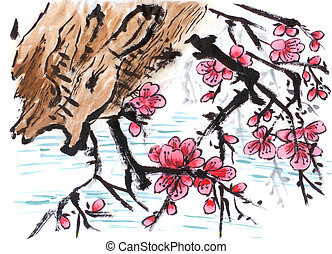 chinese painting riverside Plum flower,on paper